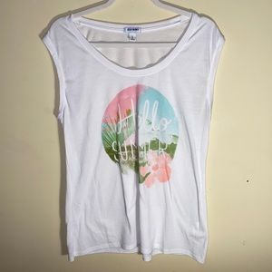 """Hello Summer"" graphic Old Navy tank"
